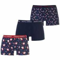 Jack And Jones 3 Pack Joseph Christmas Boxers Navy Blazer Мъжко бельо