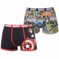 Character Мъжки Боксерки 2 Pack Boxers Mens Marvel Мъжко бельо