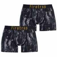 Firetrap 2 Чифта Боксерки 2 Pack Trunks Fir Green/AOP Мъжко бельо