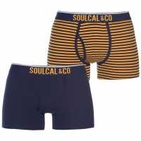 Soulcal 2 Pack Of Boxers Navy/Sunflower Мъжко бельо