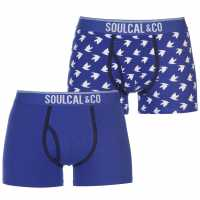 Soulcal 2 Pack Of Boxers Blue/Bird AOP Мъжко бельо