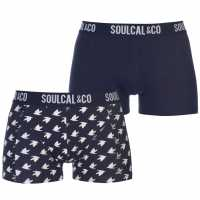 Soulcal Trunks Pack Of 2 Peacoat/BirdAOP Мъжко бельо
