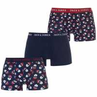 Jack And Jones 3 Pack Christmas Wish Boxers Navy Blazer Мъжко бельо