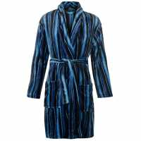 Stripe Fleece Robe Mens Black Мъжки пижами