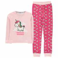 Crafted Design Pj Set Unisex Childrens Unicorn Pink Детски пижами