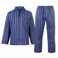 Мъжки Комплект Пижама Flannel Pyjama Set Mens Navy Stripe Мъжки пижами