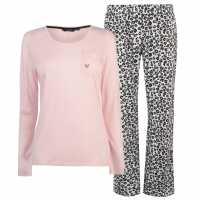 Miso Jersey Fleece Pj Set Ladies Pink Leopard Дамски пижами