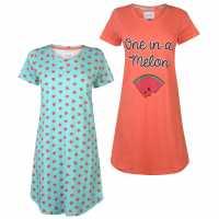 Rock And Rags Дамска Рокля 2 Pack Night Dress Ladies Aqua Melon Дамски пижами