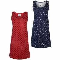 Rock And Rags Two Pack Nightdress Navy Spot Дамски пижами