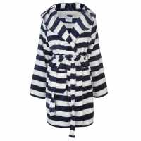 Rock And Rags Printed Hooded Robe Ladies Navy Stripe Дамски пижами