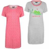 Miso 2 Pack Night Dresses Ladies Peas Дамски пижами