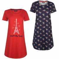 Miso 2 Pack Night Dresses Ladies Paris Дамски пижами