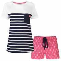 Rock And Rags Дамски Комплект Пижама Sail Short Pyjama Set Ladies Pink Anchor Дамски пижами