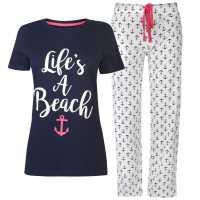 Rock And Rags Дамски Комплект Пижама Sail Pyjama Set Ladies Navy Anchor Дамски пижами
