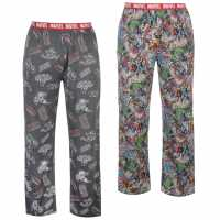 Character 2 Pack Pyjama Bottoms Mens Marvel Мъжки пижами