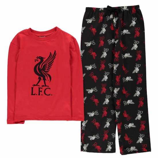 Team Woven Jersey Top Pyjama Set Child Boys Liverpool Детски пижами