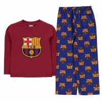 Team Woven Jersey Top Pyjama Set Child Boys Barcelona Детски пижами