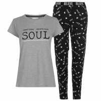 Miso Дамски Комплект Пижама T Shirt Pyjama Set Ladies Grey/Black Дамски пижами