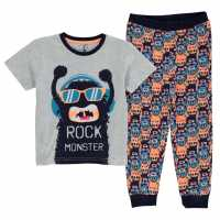 Crafted Designed Pjs Child Boys Grey Monster Детски пижами