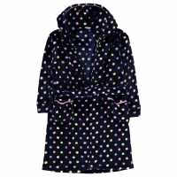 Crafted Essentials Bobble Robe Child Girls Navy Spot TBC Детски пижами