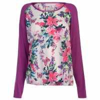 Rock And Rags Floral Print Pyjama Top Fuchsia Дамски пижами