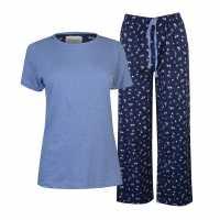 Rock And Rags Дамски Комплект Пижама Table Pyjama Set Ladies Navy Ditsy Дамски пижами