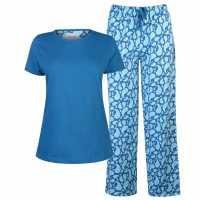 Rock And Rags Дамски Комплект Пижама Table Pyjama Set Ladies Blue Paisley Дамски пижами