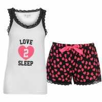 Miso Дамски Комплект Пижама Vest And Short Pyjama Set Ladies White/Black Дамски пижами