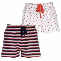 Miso Дамски Шорти Two Pack Shorts Ladies Red/Navy Bug Дамски пижами