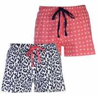 Miso Дамски Шорти Two Pack Shorts Ladies Leopard Дамски пижами