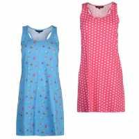Miso Twin Pack Night Dresses Ladies Blue Дамски пижами