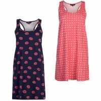 Miso Twin Pack Night Dresses Ladies Navy Дамски пижами
