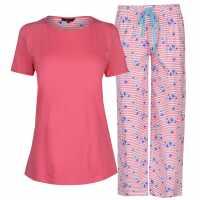 Miso Дамски Комплект Пижама Table Pyjama Set Ladies Floral Stripe Дамски пижами