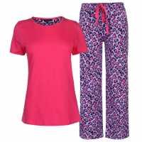 Miso Дамски Комплект Пижама Table Pyjama Set Ladies Leopard Дамски пижами