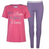 Soulcal Rock And Rags Slogan Pj Set Fuschia Дамски пижами