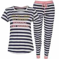Soulcal Rock And Rags Slogan Pj Set Stripes Дамски пижами
