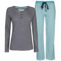 Rock And Rags Collared Pyjama Set Blue Дамски пижами
