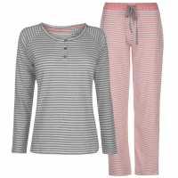 Rock And Rags Collared Pyjama Set Coral Дамски пижами