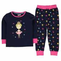 Crafted Essentials Jersey Print Pyjama Set Child Girls Navy Ballerina Бебешки дрехи