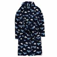 Crafted Essentials B Print Robe Chd82 Navy Planes Детски пижами