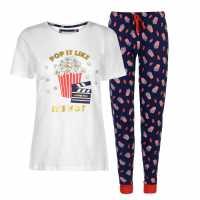 Rock And Rags Fun Print Pj Set Popcorn Дамски пижами