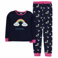 Crafted Essentials Jersey Pyjamas Child Girls Navy Rainbow Детски пижами