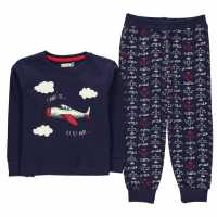 Crafted Essentials Jersey Pyjamas Child Boys Navy Planes Детски пижами