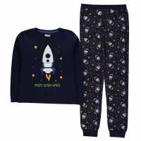 Crafted Essentials Jersey Pyjamas Child Boys Navy Space Детски пижами