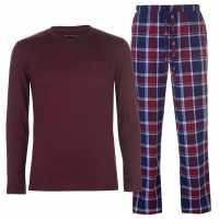 Soulcal Мъжки Комплект Пижама Jersey Check Pyjama Set Mens Burgundy L/S Мъжки пижами