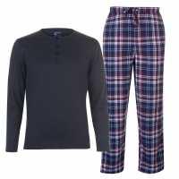 Soulcal Мъжки Комплект Пижама Jersey Check Pyjama Set Mens Charcoal L/S Мъжки пижами