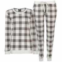 Soulcal Дамски Комплект Пижама Supersoft Pyjama Set Ladies Grey Check Дамски пижами