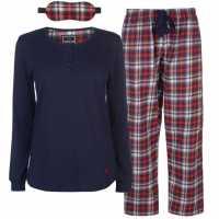 Soulcal Дамски Комплект Пижама 3 Piece Flannel Pyjama Set Ladies Red Check Дамски пижами