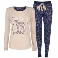 Soulcal Дамски Комплект Пижама Jersey Pyjama Set Ladies Woodland AOP Дамски пижами