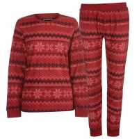 Soulcal Дамски Комплект Пижама Micro Fleece Pyjama Set Ladies Fairisle Дамски пижами
